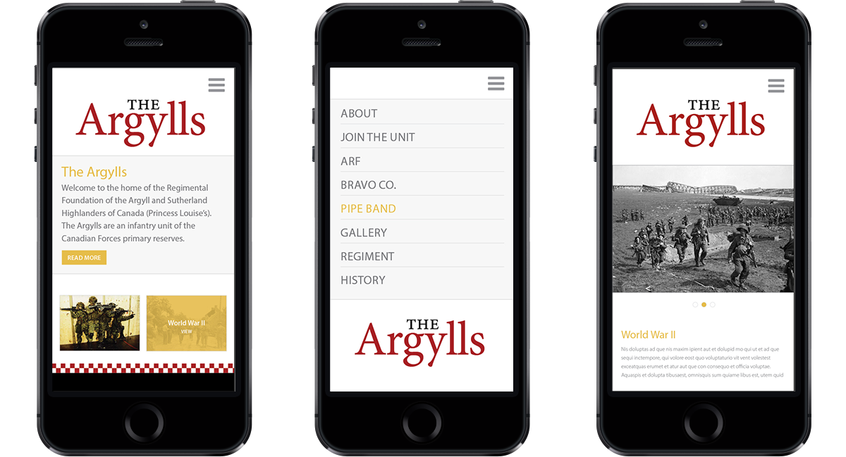 The Argylls mobile display web site